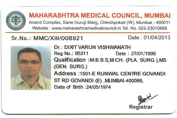 Dr Varun Dixit ISAPS certificate